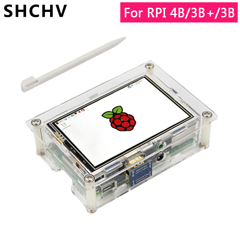 3.5 Inch Raspberry Pi 4 HDMI Display Raspberry Pi 3 Touch Screen 480*320 LCD + Case For Raspberry Pi 4 Model B 3B Plus 3B+