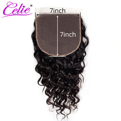 Celie Hair Brazilian Water Wave 7x7 Closure Free Middle Three Part Remy Human Hair Closure Swiss Lace 7x7 Lace Closure