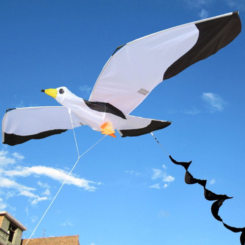 3D Seagull Kite Single Line Flying Kites with Tail and Handle for Adult and Kid 72XC