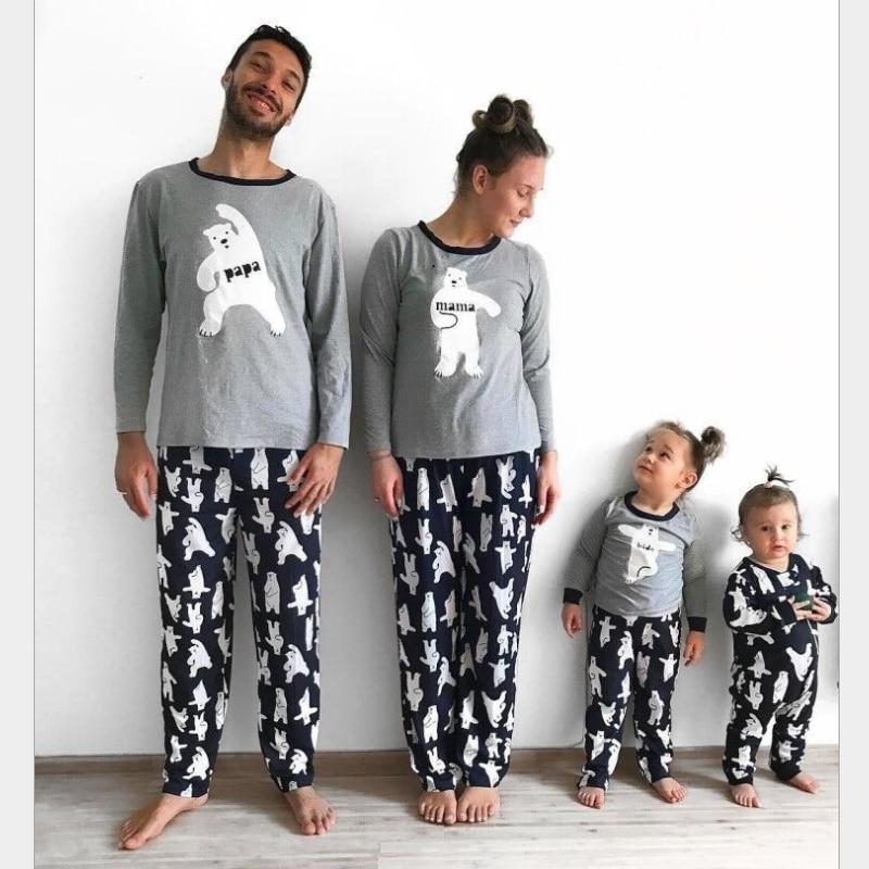 Matching Family Pajamas Christmas Bear Sleepwear Autumn Winter Cotton Kids PJS Christmas Pajamas Family Couples Matching Pajamas