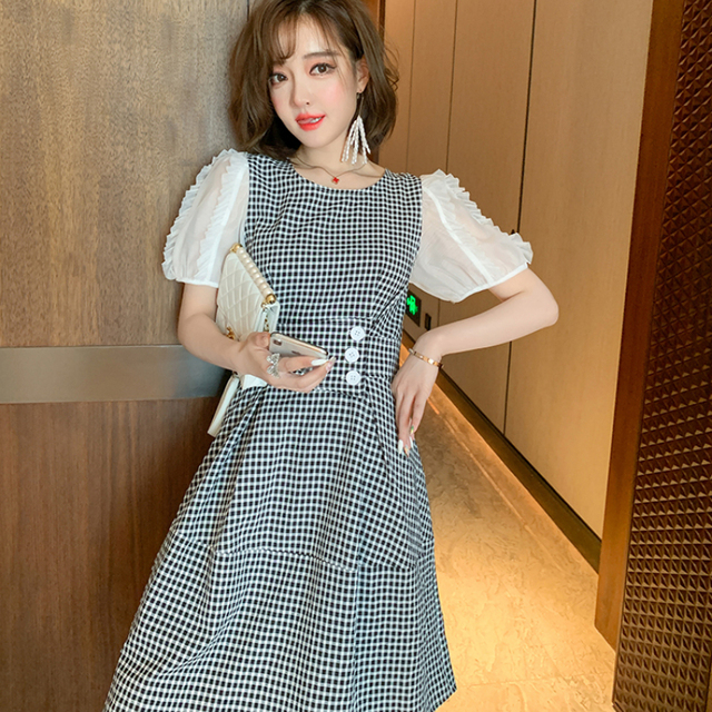 Awarose Plaid Dress For Women Mesh Short Sleeves Patchwork High Waist A-Line Elegant Casual Ladies Party Dresses Female Clothes 1
