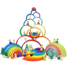 Baby Toys Wooden Block Rainbow Kids Creative building Blocks Stacker Wooden Toys Baby Early Learning Montessori Educational Toy Children(China)