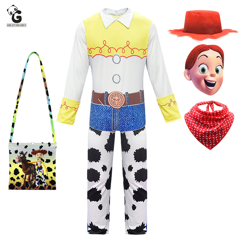 Girls Clothes Jessie Costume Kids Fancy Party Dress Up Halloween Costumes for Jumpsuits Outfits