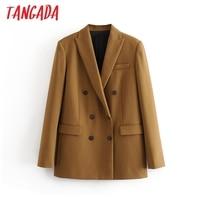 Tangada women brown solid double breasted suit jacket designer office ladies blazer pockets work wear tops 3H42