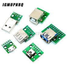 5pcs Micro Mini USB USB A Male USB 2.0 3.0 A Female USB B Connector Interface to 2.54mm DIP PCB Converter Adapter Breakout Board
