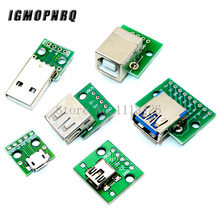5 pces micro usb mini usb um macho usb 2.0 3.0 uma fêmea usb b conector interface para 2.54mm dip pcb conversor adaptador breakout board(China)