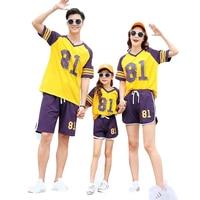 Family Outfits 81 Blue Purple 2019 Summer Mother Daughter Father Son Cotton T Shirts Short Pants 2pcs/Sets Vestido Verano Largo