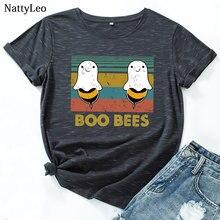 T-Shirt à manches courtes et col rond pour femmes, 2020 coton, avec impression de jolies abeilles, été, 100%
