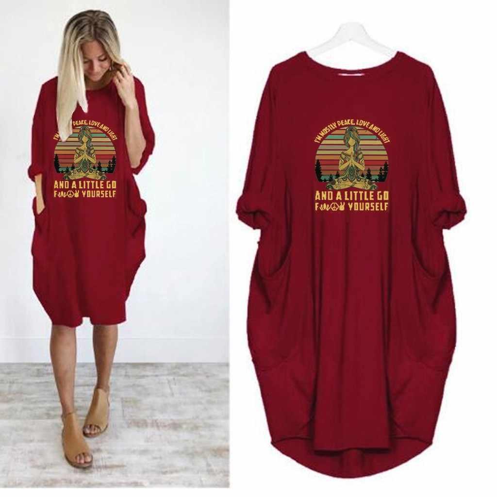 JAYCOSIN נשים שמלות Jumper גבירותיי בבאגי ארוך שרוול כיס סוודר מיני שמלה מזדמן מוצק Loose למעלה גדול גודל אישה 822