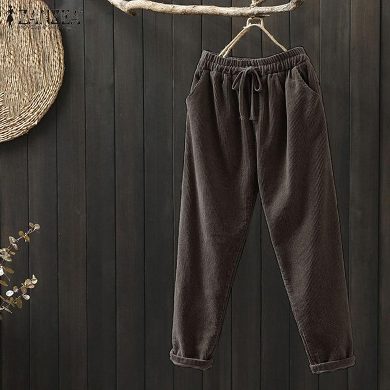 Elegant Women's Corduroy Pants Trouser ZANZEA Autumn Harem Pants High Elastic Pantalon Female Palazzo Plus Size Woman Turnip