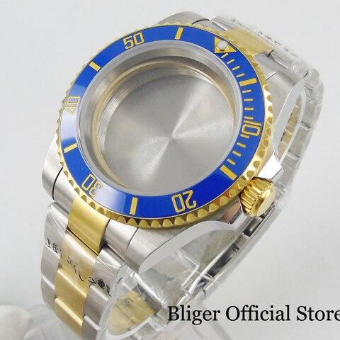 Revestido de Qualidade Safira sem Lupa + Pulseira Ouro Superior Assista Case Vidro Relógio Ajuste Eta 2836 Miyota Movimento 40mm