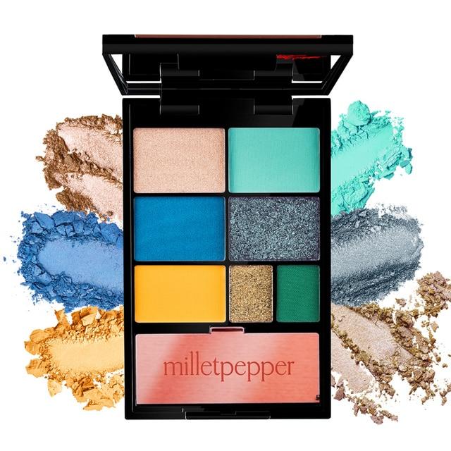 milletpepper BLUES 7 Colors Eyeshadow Palette Charming Pigment Shimmer Glitter Powder Long Lasting Makeup Eye Shadow Matte