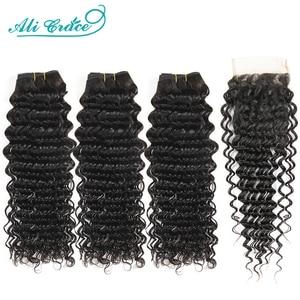 Image 1 - Ali Grace Brazilian Deep Wave Bundles With Closure 3 Bundles Human Hair Deep Wave with Swiss Lace Closure Remy Hair Deep Wave