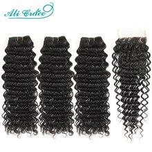 Ali graça pacotes de onda profunda brasileira com fecho 3 pacotes cabelo humano onda profunda com fechamento do laço suíço remy cabelo onda profunda