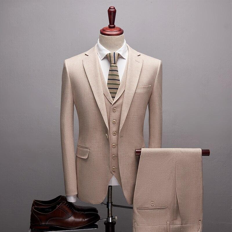 Good Quality Soft Wool Men Suits Slim Fit Blazer Luxury Groom Suit Fashion Gentalmen Style (Jacket+Vest+Pants)