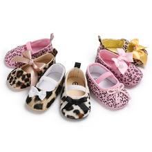 Princess Girl  Leopard Baby Shoes Bow Knot Lace Up Jane Crib  Sweet Ballet Dress First Walkers For Toddler Newborn Baby Shoes цена