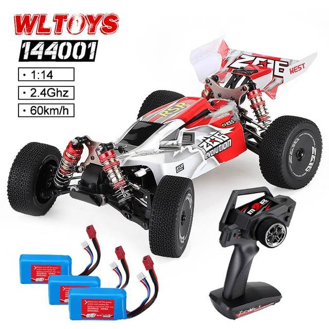 Wltoys 1:14 144001 High Speed Crawler 2.4G 4WD 60km/h Drifting RC Vehicle RC Car Remote Control Car Model Toys w/ 3 Batteries 1