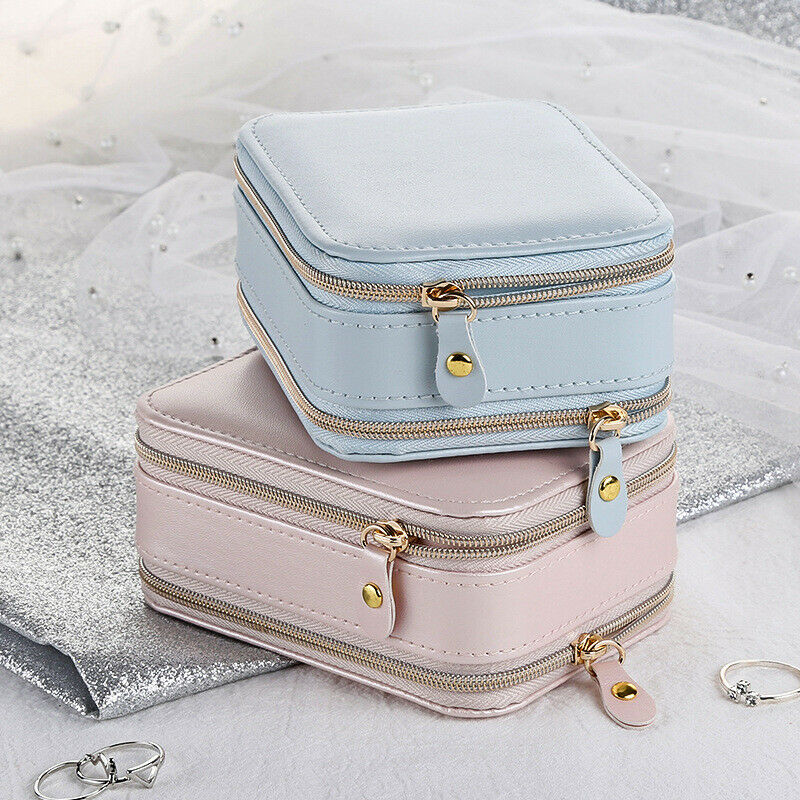 Jewelry Box Portable Zipper Leather Storage Organizer Jewelry Holder Packaging Display Travel Jewelry Box Gift Boxes For Women