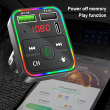 NEW Colorful Marquee Light Handsfree Bluetooth 5.0 Kit FM Transmitter Car MP3 Player Dual USB QC 3.0 PD Type C Fast Charger