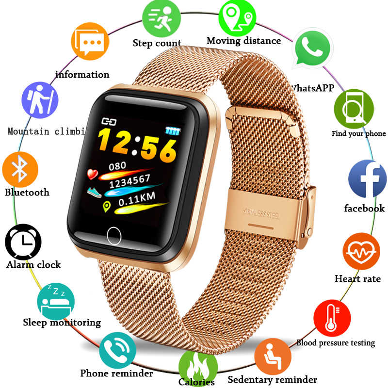 LIGE Smart Sport Bracelet Men high-end Stainless Steel gold-plated Case Pedometer Heart rate Monitor Waterproof Smartwatch N58