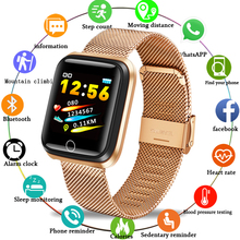 LIGE Smart Sport Bracelet Men high-end Stainless Steel gold-plated Case Pedometer Heart rate Monitor Waterproof Smartwatch N58