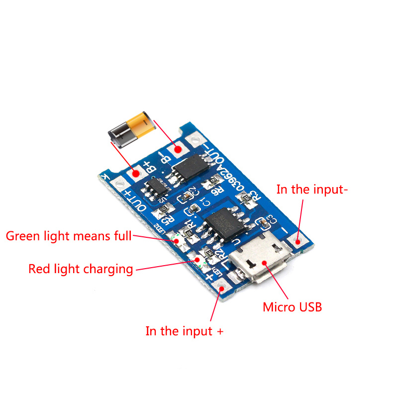 5 Pcs Micro USB 5V 1A 18650 TP4056 Lithium Battery Charger Module Charging Board With Protection Dual Functions 1A Li-ion