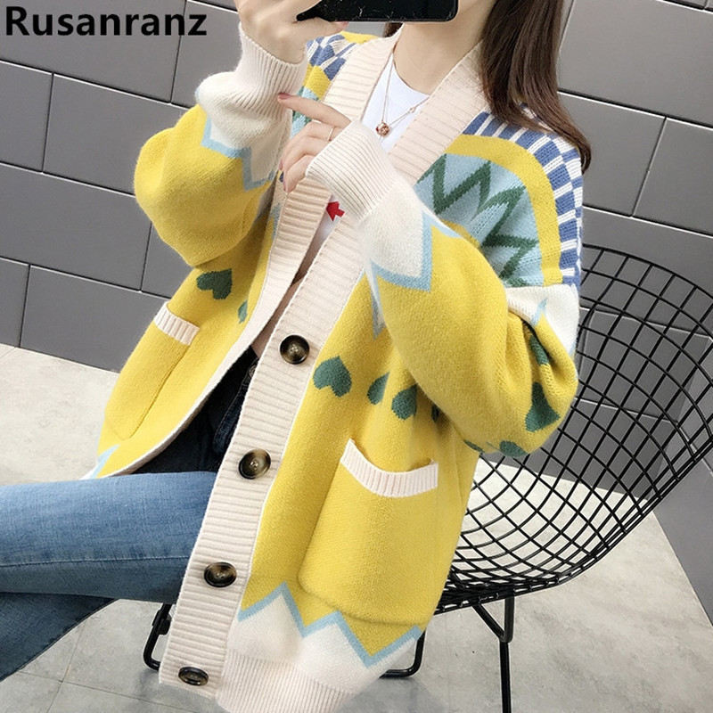 Spring Autumn Blouse Ladies Sweater Cardigan Autumn 2019 New Lazy Breeze Loose Knitted Sweaters Jacket  Oversized Sweater