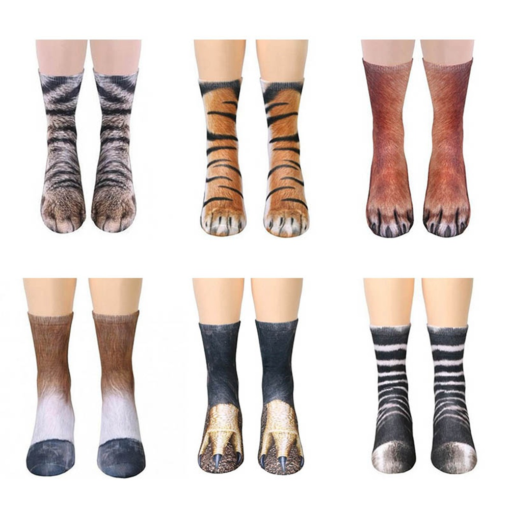 Fashion 3D Digital Printed Women Men Funny Socks Animal Paw Socks Cat Dog Tiger Feet Children Cotton