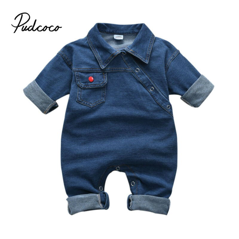 Pudcoco 2019 Baby Girl Boy Long Pants Cool Denim Romper Clothes Toddler Kids Baby Boy Girl Blue Jeans Romper Jumpsuit Clothes