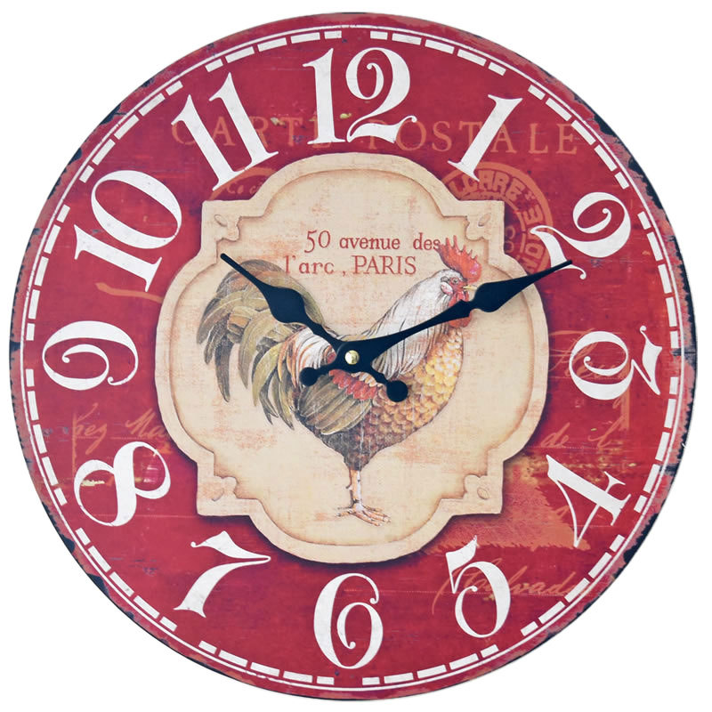 Wall Clock Shabby Chic Coloured Drawing