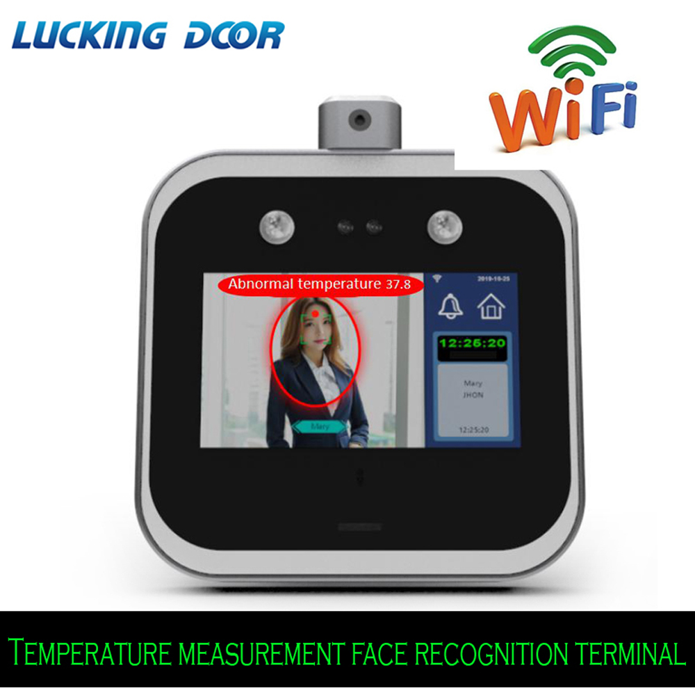 5 Inch Touch Screen Wifi Temperature Measurement Face Recognition Terminal Employee Time Attendance Face Dynamic Access Control