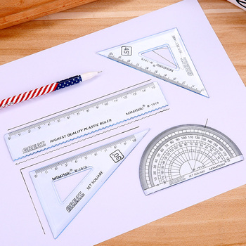 4 PCs/set Creative stationery simple ruler set student drawing set plastic Protractor triangle ruler School Office Supplies image