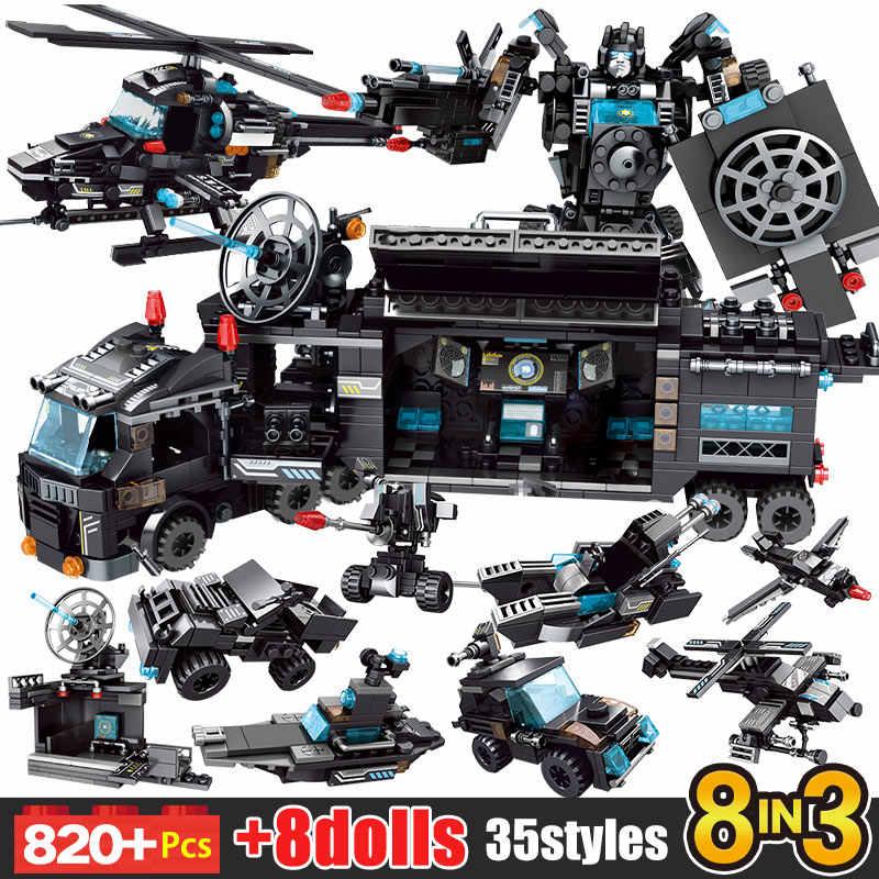 Policja miejska stacja samochód motocykl klocki SWAT zespół broń Technic ciężarówka statek Robot cegły Diy zabawki zestawy dla dzieci