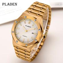 PLADEN starszy dorywczo mody mężczyzna zegarek AAA + Top marka zegarki męskie wysokiej jakości Dropshipping 2020 najlepiej sprzedających się produktów tanie tanio 19cm Moda casual QUARTZ 3Bar Przycisk ukryte zapięcie CN (pochodzenie) STAINLESS STEEL 10mm Hardlex Kwarcowe Zegarki Na Rękę