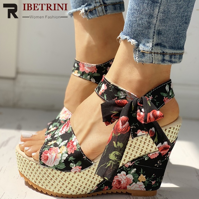 Mazefeng Sandals Party Platform High-Heels Shoes Women Wedges Bohemian-Style Hot Lace