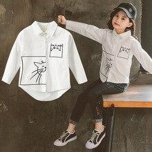 Nieuwe Lange Mouwen Shirt Voor Kinderen Meisjes Leuke Kat Wit Top Katoen Lente 2020 Kinderen Kleding Katoen Tiener Meisjes Blouse 3 12Yrs