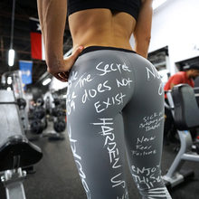 Letter print high waist elastic running leggings Workout gym sport plus size yoga pants Fitness seamless tights trousers