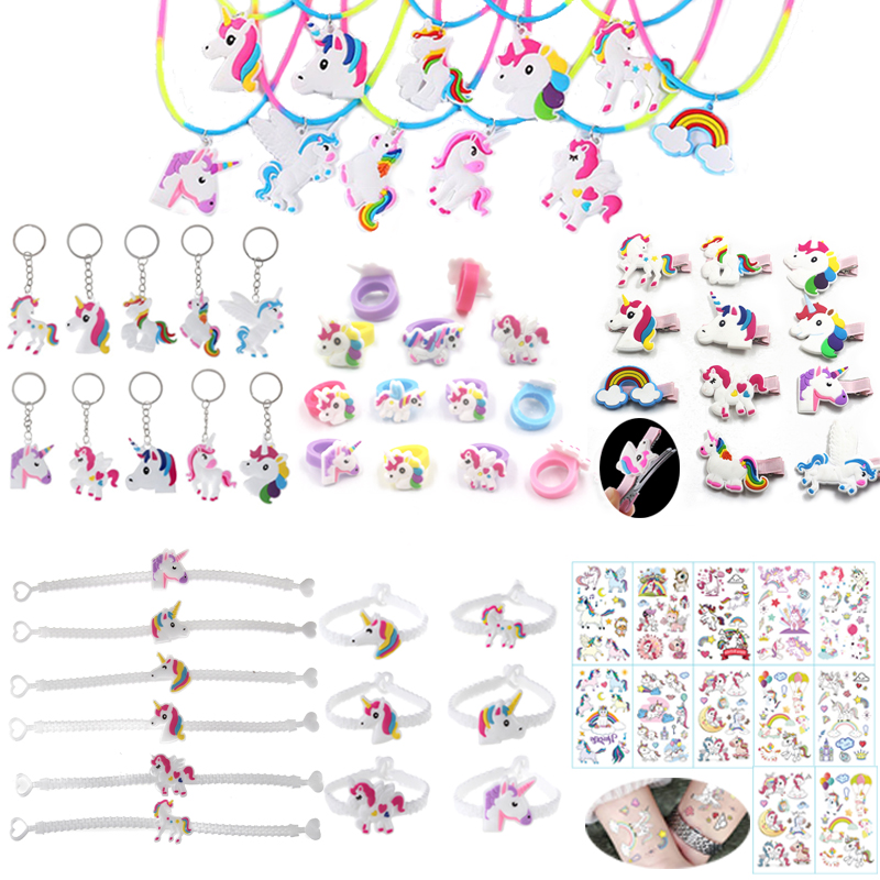 Unicorn Party Supplies Pinata Birthday Party Favors Kids Unicorn Necklace Bracelet Ring Hairpin Keychain Christmas Gifts