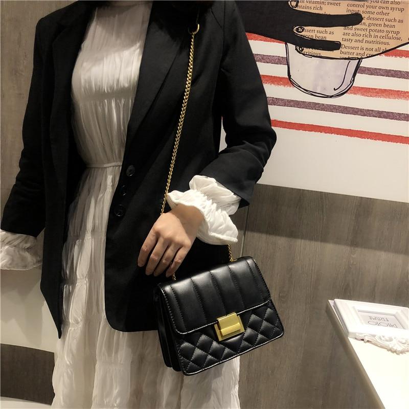 Classic Vintage Genuine Leather Messenger Bags for Women Elegant Chain Shoulder Crossbody Bags Ladies Convenient Wallet Handbags