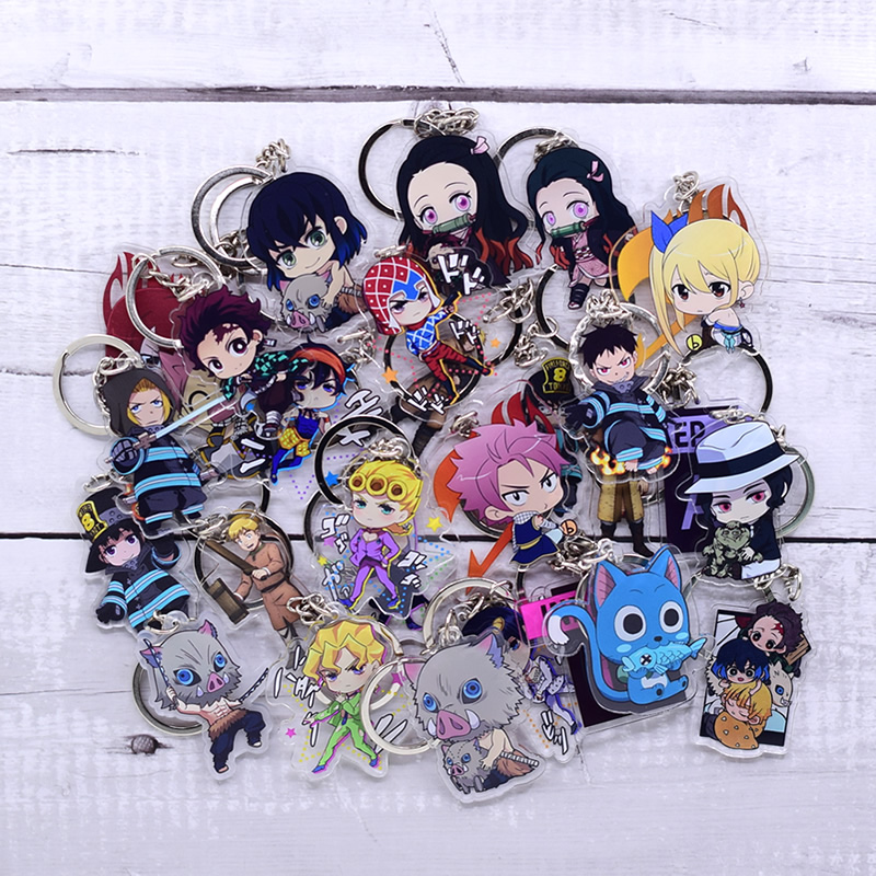 New Cartoon Keychain Demon Slayer/My Hero Academia Key Chain Ring Anime Fairy Tail/ Fire Force Keyring Hot Sales(China)