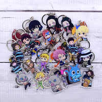New Cartoon Keychain Demon Slayer/My Hero Academia Key Chain Ring Anime Fairy Tail/ Fire Force Keyring Hot Sales