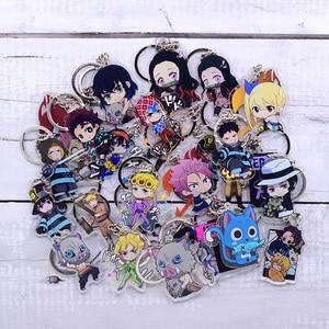 New Cartoon Keychain Demon Slayer/My Hero Academia Key Chain Ring Anime Fairy Tail/ Fire Force Keyring Hot Sales(China)
