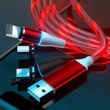 3A magnetyczny kabel Micro USB typ C szybkie ładowanie kabel świecący telefon komórkowy kabel oświetleniowy do iPhone 12 Xiaomi przewód ładowania tanie tanio QICHSHJIN Rohs LIGHTNING TYPE-C CN (pochodzenie) USB A Magnetyczne Ze wskaźnikiem LED 3A fast charging Transmission speed up to 480 Mbps