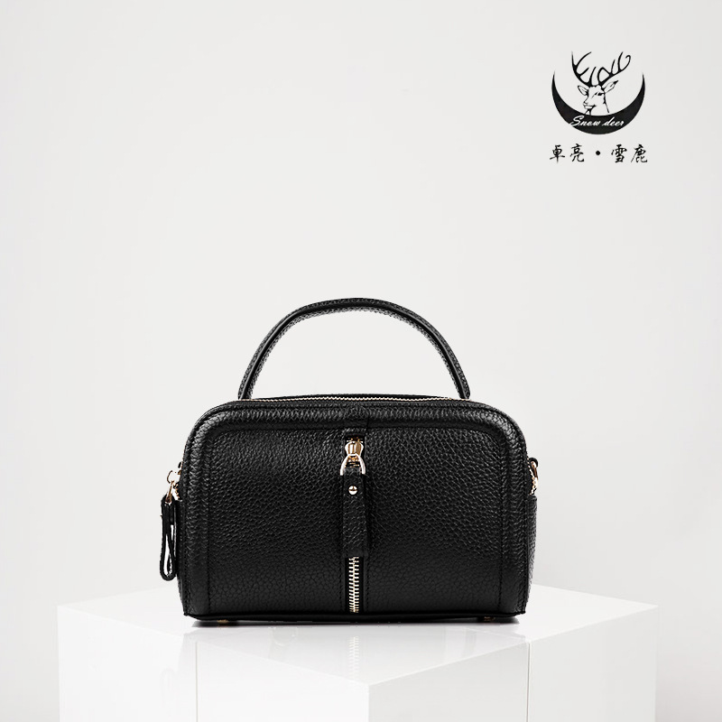 Leather women's bag retro head leather women's slanted bag solid color small square bag Korean version of the fashion backpack