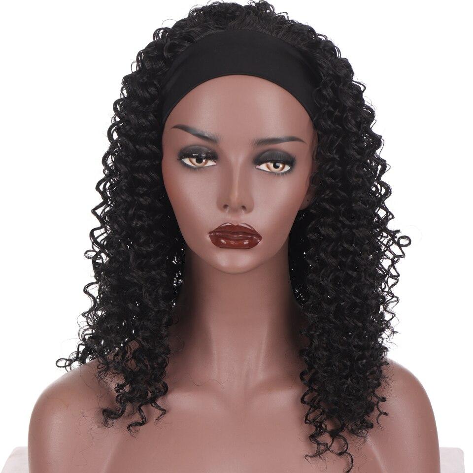 Lupu longo afro kinky curly bandana peruca