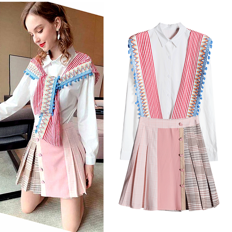 Spring Women Spliced Embroidey Tassels Balls Blouses Shirts Party Long Sleeve Tops And Plaid Pleated Skirts Ladies Suits NS276