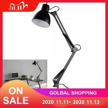 גמיש נדנדה זרוע קלאמפ הר שחור מנורת שולחן שולחן אור קריאת מנורת לבית משרד סטודיו מחקר 110V 240V עבור בית חדר