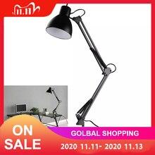 Lámpara de escritorio con brazo oscilante Flexible, montaje de abrazadera, luz de mesa negra, lámpara de lectura para estudio de oficina en casa, 110V 240V para habitación de casa