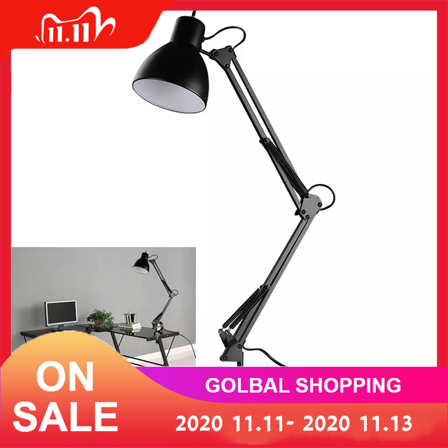 Swing Arm Clamp Mountโคมไฟตั้งโต๊ะสีดำตารางอ่านโคมไฟสำหรับHome Office Studioศึกษา 110V 240VสำหรับHome Room