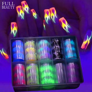 10 Roll Box Luminous Fire Flame naklejki foliowe na paznokcie zestaw naklejka do transferu na paznokcie naklejka żółty niebieski suwak gwiaździste papiery dekoracje CHB121 tanie i dobre opinie Full Beauty COMBO CN (pochodzenie) 100cm*4cm Naklejka naklejka Plastic Paper 10pcs box Fire Flame Nail Foil 2020 Winter Designs